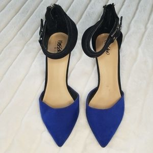 Mossimo Blue and Black Point Pump with Ankle Strap